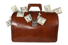 Brief-case with money stock photo