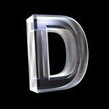 Brief D in 3D glas Stock Foto's