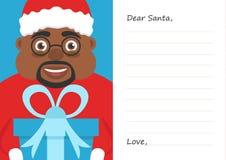 Brief de Beste Kerstman voor Vrolijke Kerstmis of Nieuw jaar Leuk Afro-Amerikaans mannetje Prentbriefkaar of van de groetkaart ma Stock Afbeelding