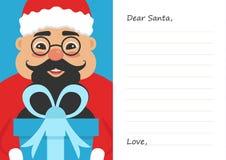 Brief de Beste Kerstman voor Vrolijke Kerstmis of Nieuw jaar Leuk Aziatisch mannetje Prentbriefkaar of van de groetkaart malplaat Royalty-vrije Stock Afbeelding
