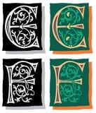 Brief E en F, Grijs en Kleur Stock Afbeeldingen