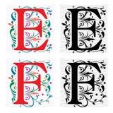 Brief E en F, Kleur en Zwart-wit Stock Afbeelding