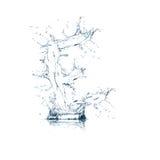 Brief E van wateralfabet Royalty-vrije Stock Afbeeldingen