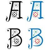 Brief A en B, Kleur en Zwart-wit Stock Afbeeldingen