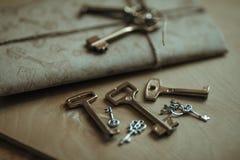Brief en de sleutels Stock Foto's