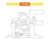 Brief F en grappige beeldverhaalvissen Kleurende pagina Dierenalfabet a-z Leuk dierentuinalfabet in vector voor jonge geitjes die vector illustratie