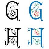 Brief G en H, Kleur en Zwart-wit Royalty-vrije Stock Afbeeldingen