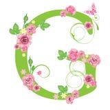 Brief G met rozen Stock Foto's