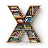 Brief X geïsoleerd alfabet in de vorm van planken met boeken Royalty-vrije Stock Fotografie