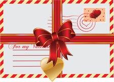 Brief-gift voor Valentijnskaart Stock Foto