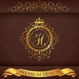 Brief H Het malplaatje van het luxeembleem bloeit kalligrafische elegante ornamentlijnen Bedrijfsteken, identiteit voor Restauran Stock Foto