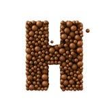 Brief H van chocoladebellen wordt de gemaakt, 3d die melkchocolaconcept, geeft terug Royalty-vrije Stock Fotografie