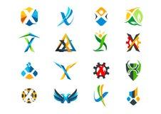 Brief x het ontwerp van het conceptenembleem royalty-vrije illustratie