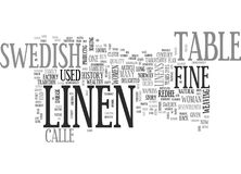 A Brief History Of Fine Swedish Table Linen Word Cloud Stock Images