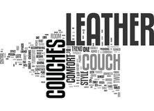 A Brief History Of Leather Couches Word Cloud Stock Photos