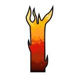 Brief I van het Alfabet van vlammen vector illustratie