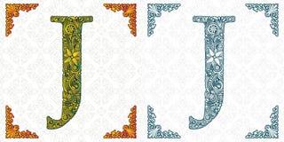 Brief J Vector Decoratief alfabet op witte achtergrond Geïsoleerde kleine lettertjes monogram Het ornament van het de lenteblad vector illustratie