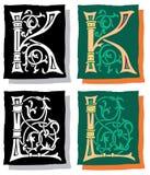 Brief K en L, Grijs en Kleur Stock Afbeeldingen