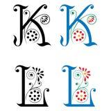 Brief K en L, Kleur en Zwart-wit Royalty-vrije Stock Foto's