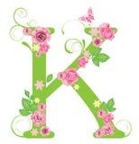 Brief K met rozen Stock Afbeeldingen