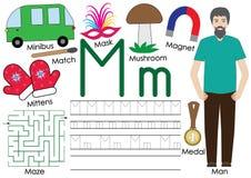 Brief M Alfabet Geen festiviteiten Het schrijven praktijk vector illustratie