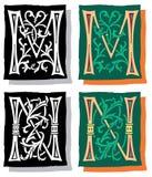 Brief M en N, Grijs en Kleur Royalty-vrije Stock Afbeeldingen
