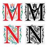 Brief M en N, Kleur en Zwart-wit Royalty-vrije Stock Afbeeldingen
