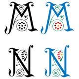 Brief M en N, Kleur en Zwart-wit Stock Foto's