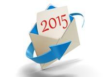 Brief met 2015 (het knippen inbegrepen weg) Stock Afbeeldingen