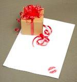 Brief met kus Stock Afbeelding