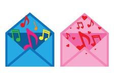 Brief met muzieknoten Stock Afbeeldingen