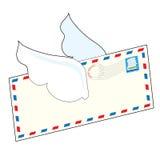 Brief met vleugels Royalty-vrije Stock Foto's