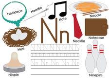 Brief N Engels alfabet Onderwijs voor kinderen Het schrijven praktijk van kapitaal en kleine letters royalty-vrije illustratie
