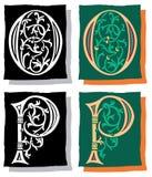 Brief O en P, Grijs en Kleur Stock Afbeeldingen