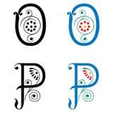 Brief O en P, Kleur en Zwart-wit Stock Afbeelding
