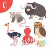 Brief O Leuke dieren Grappige beeldverhaaldieren in vector ABC-boe-geroep Stock Afbeeldingen