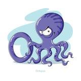 Brief O met grappige Octopus Royalty-vrije Stock Foto's