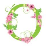 Brief O met rozen stock illustratie