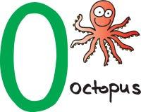 Brief O - octopus stock illustratie