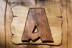 Brief A op een houten plaat Royalty-vrije Stock Foto's