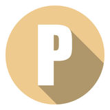 Brief P met een lange schaduw Vector illustratie EPS10 vector illustratie