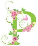 Brief P met rozen Stock Fotografie