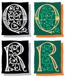 Brief Q en R, Grijs en Kleur Royalty-vrije Stock Foto