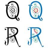 Brief Q en R, Kleur en Zwart-wit Royalty-vrije Stock Fotografie