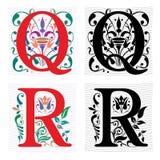 Brief Q en R, Kleur en Zwart-wit Stock Foto's