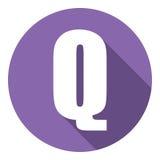 Brief Q met een lange schaduw Vector illustratie EPS10 vector illustratie
