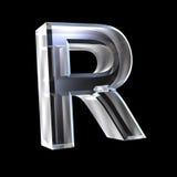 Brief R in 3D glas Stock Foto's