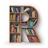 Brief R geïsoleerd alfabet in de vorm van planken met boeken Royalty-vrije Stock Foto's