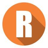 Brief R met een lange schaduw Vector illustratie EPS10 vector illustratie