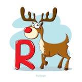 Brief R met grappige Rudolph vector illustratie